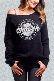 Questionable Quality Humor Off-The-Shoulder Sweatshirt (Black)