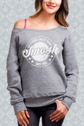 Questionable Quality Humor Off-The-Shoulder Sweatshirt (Heather Grey)