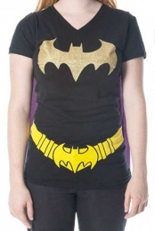 Batman Logo Juniors V-Neck Cape T-Shirt