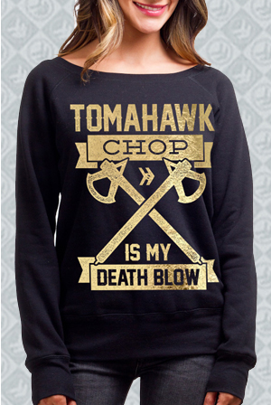 Gold Foil Death Blow Off-the-Shoulder Sweatshirt