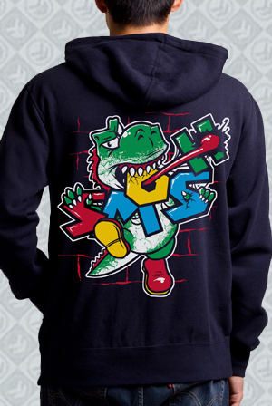 Dinosaur Navy Zip Up