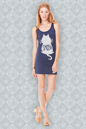 Cat Silhouette Tank Dress (Navy)