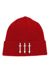 Triple Cross Arrow Winter Beanie (Red)