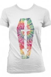Tie Dye Coffin Girls Tee (White)