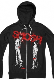 Graffiti Red Zip Up Hoodie (Black)