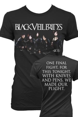 Group Skyline Girls T Shirt Black Veil Brides T Shirts