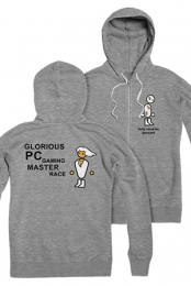 PC Master Race Zip Up Hoodie (Gunmetal Heather)